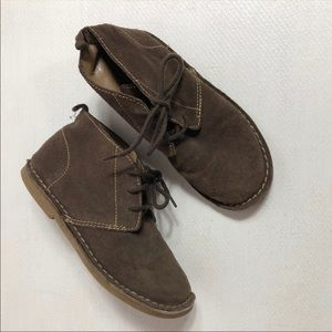 GAP Boys Leather Shoes 1 Suede Brown Lace Up